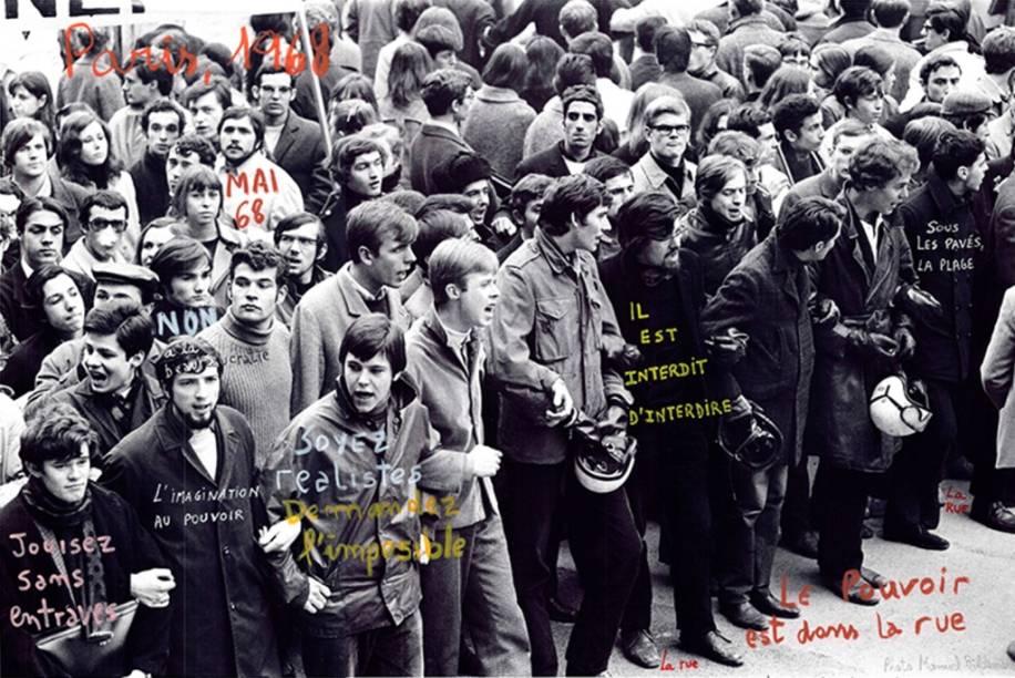 Marcelo Brodsky registrou o maio de 1968, em Paris, e depois fez intervenções que salientam os protestos dos estudantes
