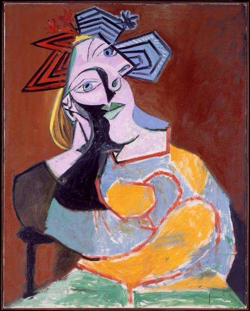 Mulher sentada apoiada sobre os cotovelos (1939 ) de Pablo Picasso