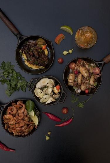 Lambe-lambe: cupim e purê de mandioca, palmito pupunha grelhado, camarão ao alho e frigideira de lula salteada