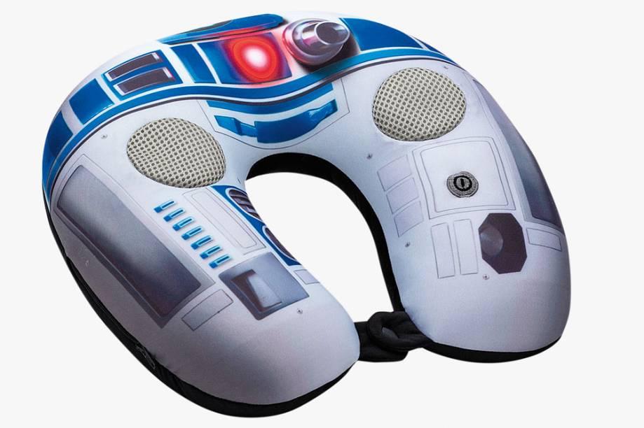 Almofada massageadora para pescoço com entrada para tocar músicas do smartphone