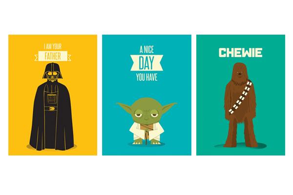 Pôsteres Darth Vader, Yoga e Chewbacca