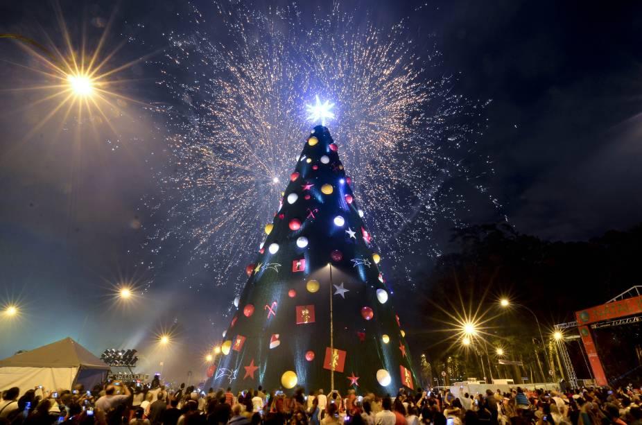 Paulistanos acompanharam a inauguração da árvore de Natal, que contou com queima de fogos e show de Toquinho, em 2014