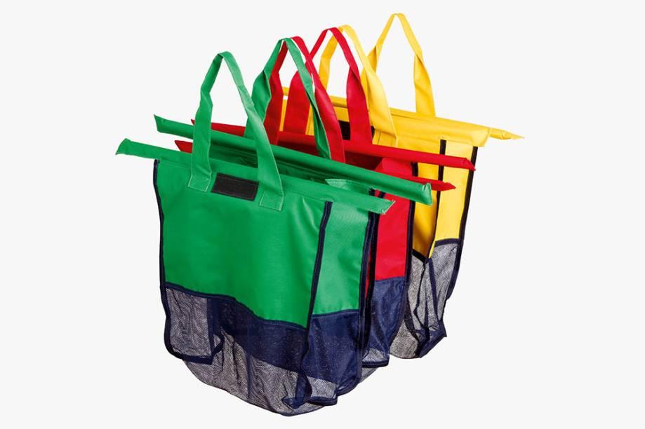 Conjunto com quatro sacolas de compras que se encaixam no carrinho de supermercado