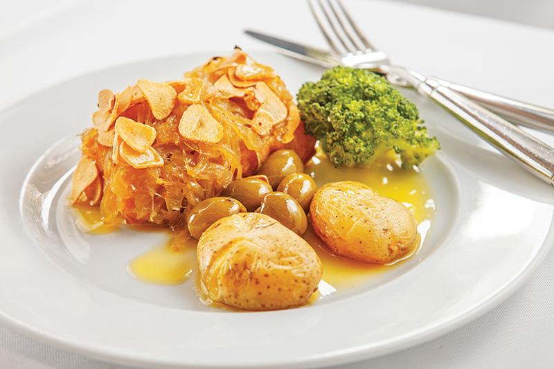 O peixe à lagareiro: uma das opções de prato principal