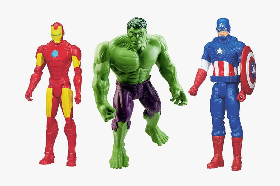 Bonecos do Hulk, do Capitão América e do Homem de Ferro