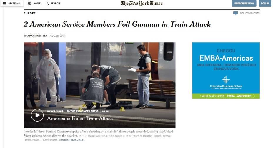 The New York Times: americanos rendem atirado em ataque a trem