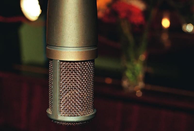 Microfone antigo na Casa de Francisca