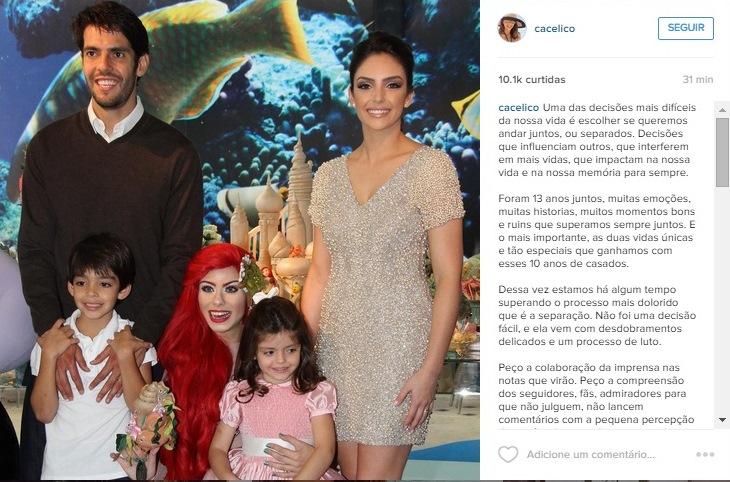 Kaká, Carol Celico e os filhos: foto publicada pela empresária para confirmar o fim do casamento com o jogador