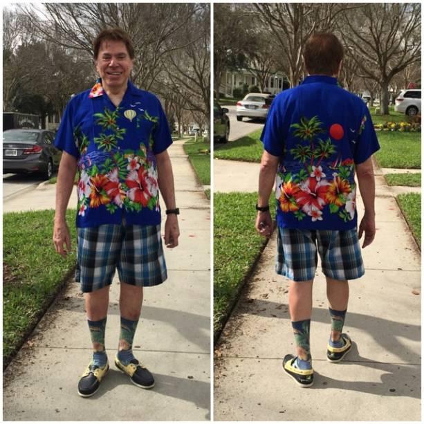 Silvio Santos mostra seu look de verão em férias na Flórida, onde passa férias