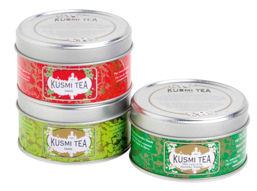 Kit com cinco infusões à base de chá-verde, da Kusmi Tea
