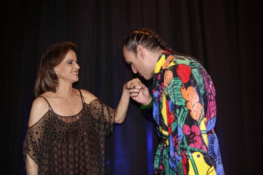 """Marieta Severo e Dudu Bertholini na festa de lançamento da novela """"Verdades Secretas"""""""