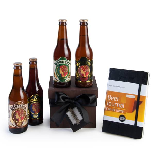 """Quatro cervejas Madalena e um moleskine, R$ 179,00, na <a href=""""https://www.foundit.com.br/"""" rel=""""Found It!"""">Found It!</a>"""
