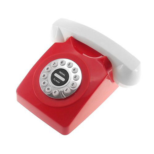 """Telefone vintage vermelho, R$ 169,00, da <a href=""""http://www.designnmaniaa.com.br/siteNovo/"""" rel=""""Design Mania"""" target=""""_blank"""">Design Mania</a>"""