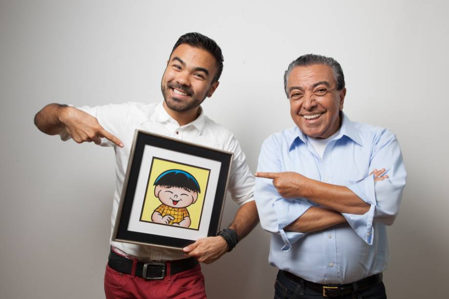 Mauro Sousa com o pai, Mauricio de Sousa