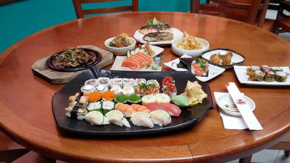 Pratos que são servidos no rodízio do Kozaka