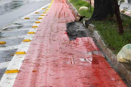 Ciclofaixa na Avenida Antônio Estevão de Carvalho com superfície irregular e obstruída pela raiz de árvore