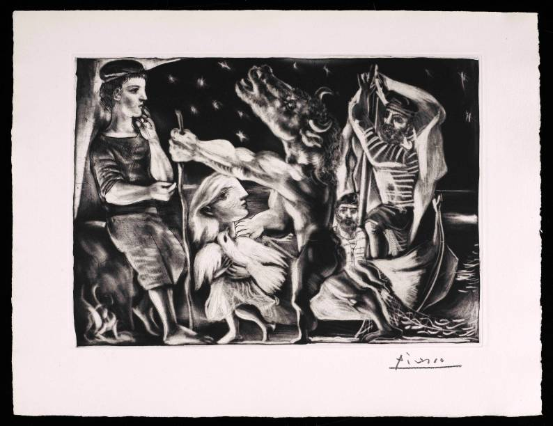 Minotauro Cego Guiado por uma Menina na Noite (Suite Vollard 97), de Picasso (1934)