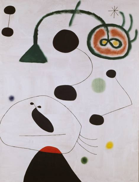 Personagem e Pássaro na Noite (1945), de Joan Miró