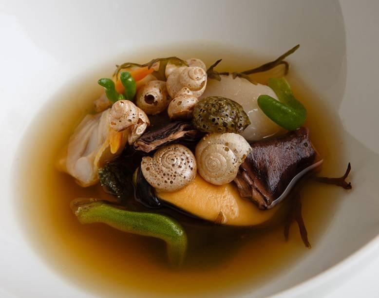 Hotel Gastronómico Echaurren: o prato fósseis marinhos, à base de mariscos
