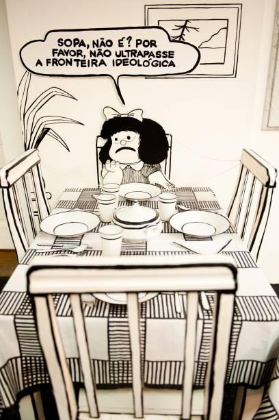 Um dos espaços mais interessantes da exposição apresenta os gostos de Mafalda
