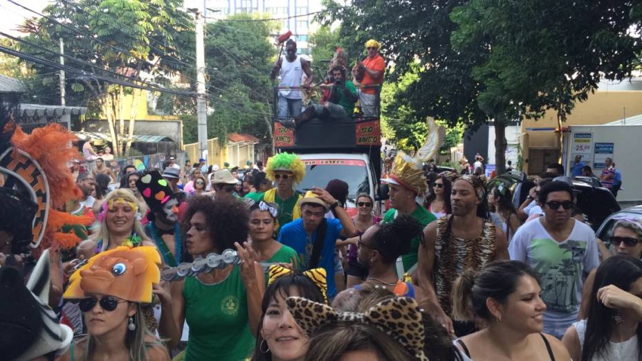 Foliões subindo a Rua Girassol, na Vila Madalena