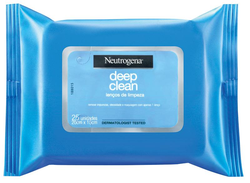 Lenços umedecidos, da Neutrogena. O produto mais tradicional no segmento sem enxágue. Os lenços eliminam impurezas da pele e removem a oleosidade ou mesmo a maquiagem. Preço sugerido: 18,90 reais