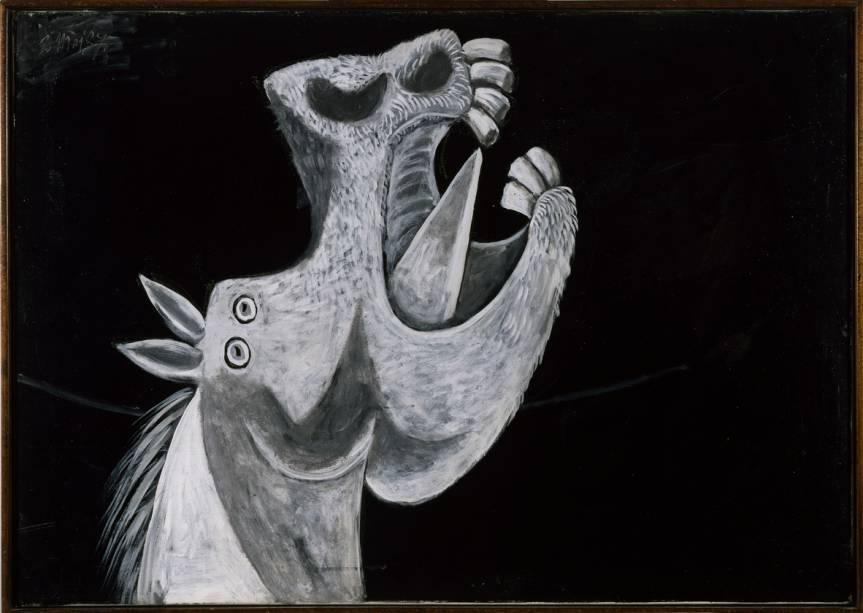 """Cabeça de cavalo. Esboço para """"Guernica"""" (3 de maio de 1937), da exposição Picasso e a Modernidade Espanhola"""