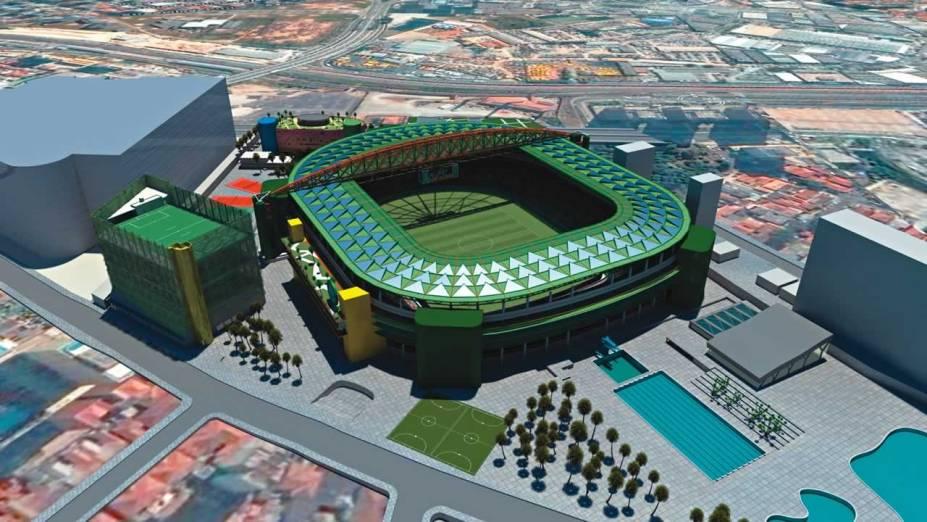 Projeção artística do estádio: 250 camarotes, restaurante e arquibancada coberta