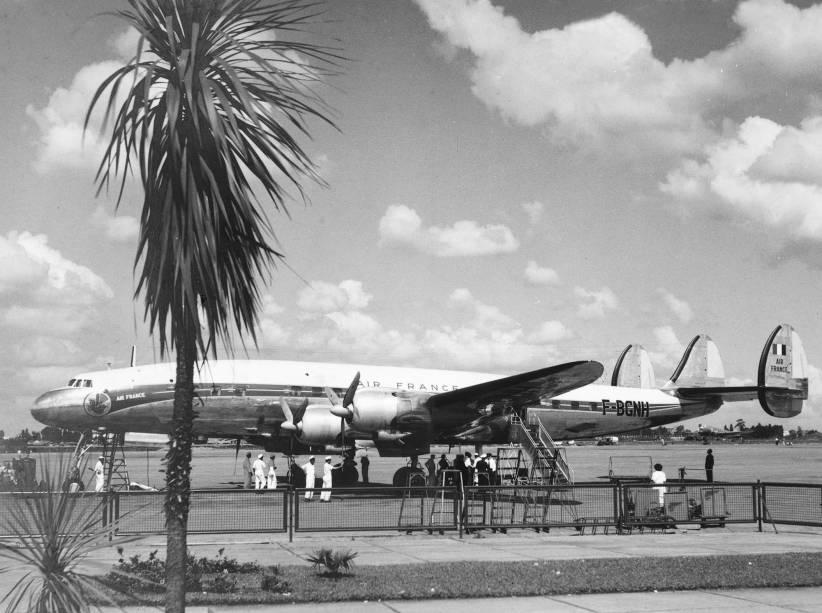SuperConstellation, em Congonhas: primeiro avião da Air France no Brasil