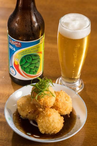 Jipangu OIzakaya: a porção de croquete de batata e cará e lascas de salmão