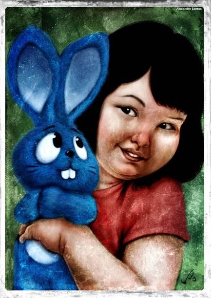 O coelhinho de pelúcia azul foi criado junto com sua dona, a Mônica