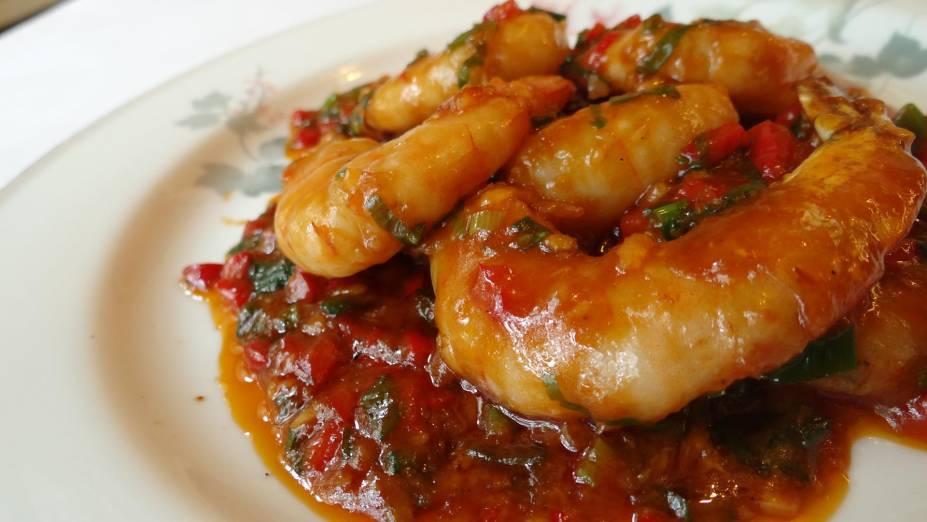 Hi Pin Shan: camarão apimentado ao molho de gengibre