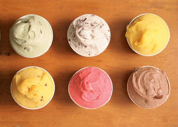 Bacio di Latte, celebrada sorveteria da cidade, tem sabores como figo, doce de leite, banana e menta