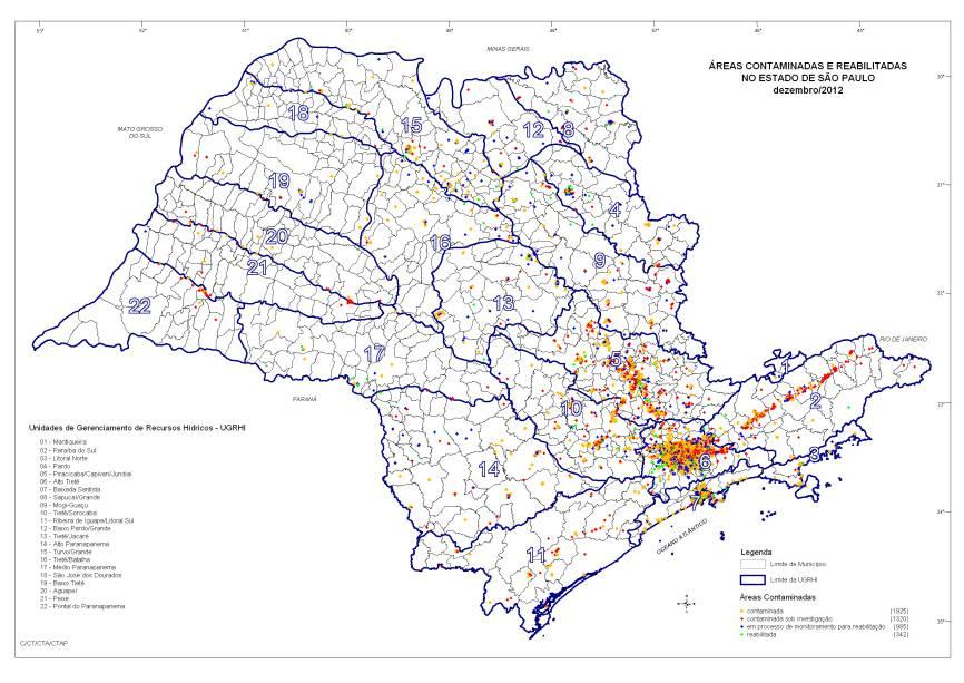 Os pontos vermelhos e laranjas mostram as áreas contaminadas no Estado. A concentração é maior na Região Metropolitana de São Paulo