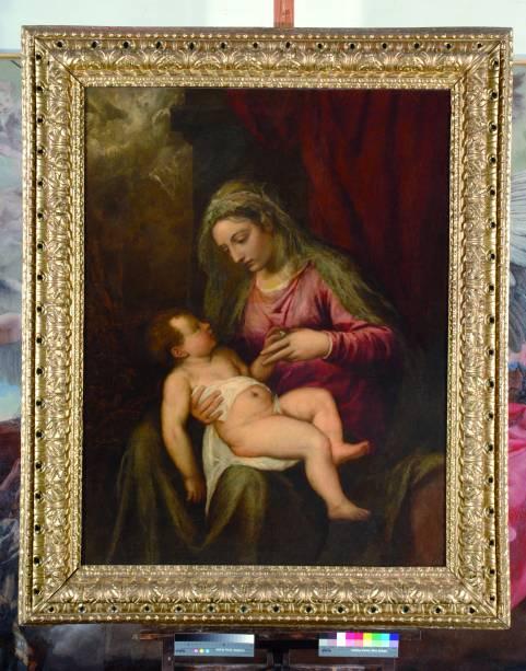 Ticiano: Madonna con bambino (Albertini), [Virgem com Menino (Albertini)], 1560-1565, óleo sobre tela