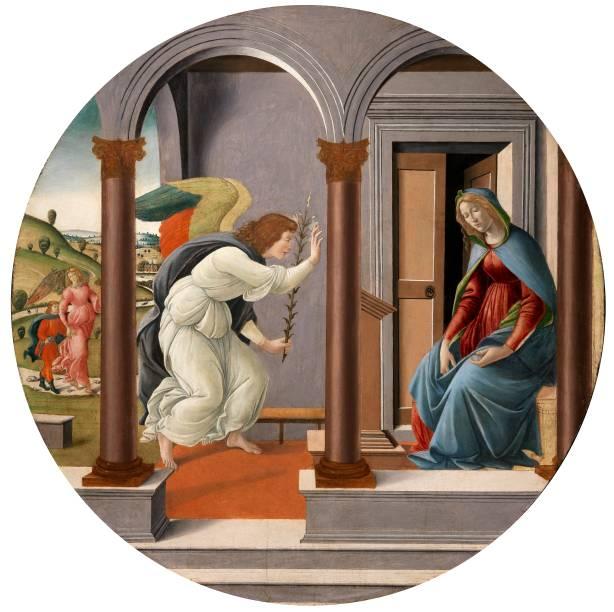 Alessandro di Mariano di Vanni Filipepi dito Sandro Botticelli: Annunciazione, sem data, óleo sobre madeira