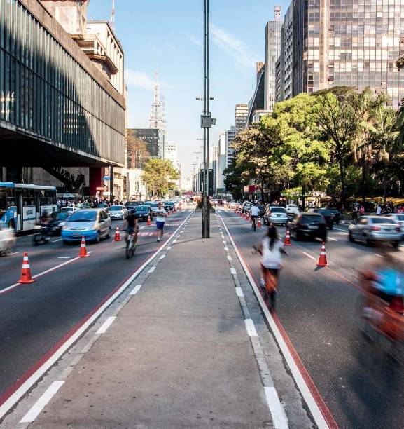 Cycling along Avenida Paulista: traffic-free lanes