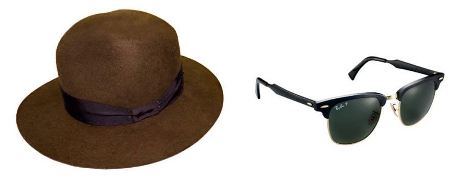 """À la Indiana Jones. Para eles: chapéu de lã, R$ 280,00. Plas, Rua Augusta, 724, Consolação, tel.: 3459-8173, <a href=""""http://www.plas.com.br"""" rel=""""www.plas.com.br"""" target=""""_blank"""">www.plas.com.br</a>. Óculos de alumínio. R$ 500,00. Ray-Ban, tel.: 0800 703 9444."""
