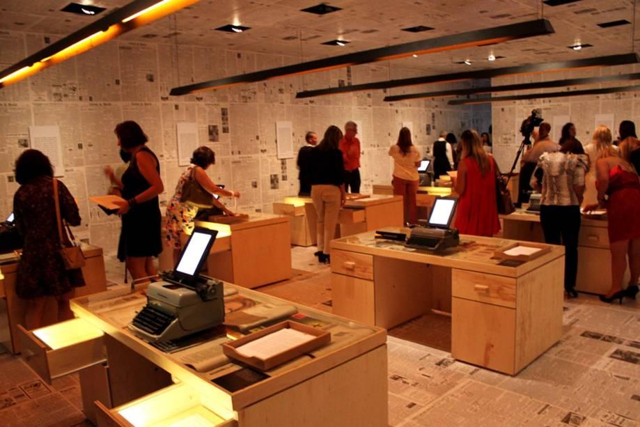 em>Redação</em>: Sala reproduz ambiente de trabalho de Rubem Braga, jornalista e cronista brasileiro