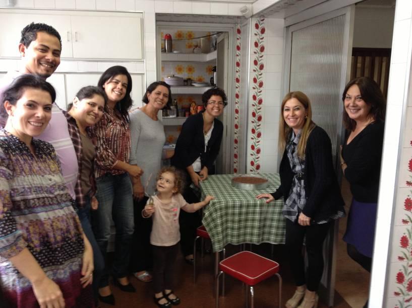 Reunião informal da equipe, na cozinha