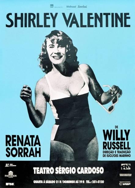 """Anúncio criado por Gringo Cardia para a peça """"Shirley Valentine"""", estrelada em 1991 por Renata Sorrah"""