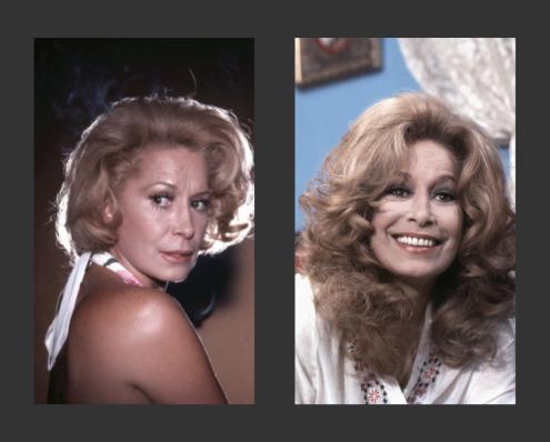 A atriz Cleyde Yáconis em dois momentos na TV Tupi: Mulheres de Areia, em 1973, e O Julgamento, em 1976