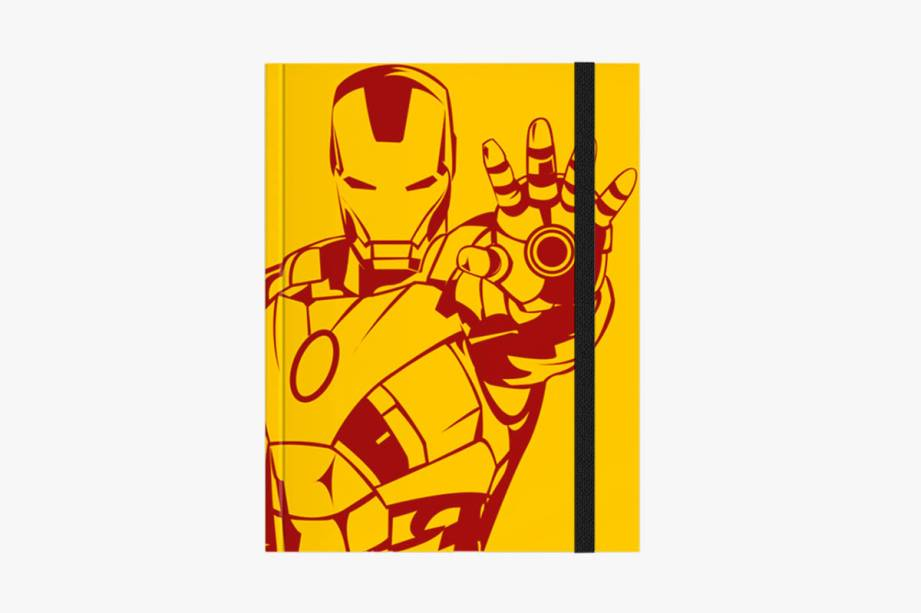 Caderno com ilustração baseada no Homem de Ferro: R$ 60,00