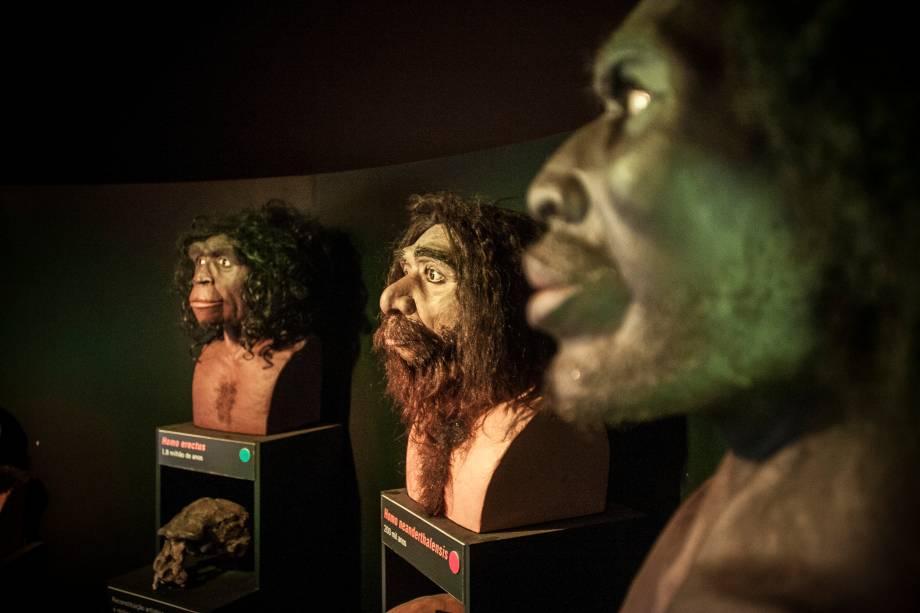 O que deve fazer mais sucesso é o setor que mostra bustos com a reconstituição do rosto de cinco hominídeos