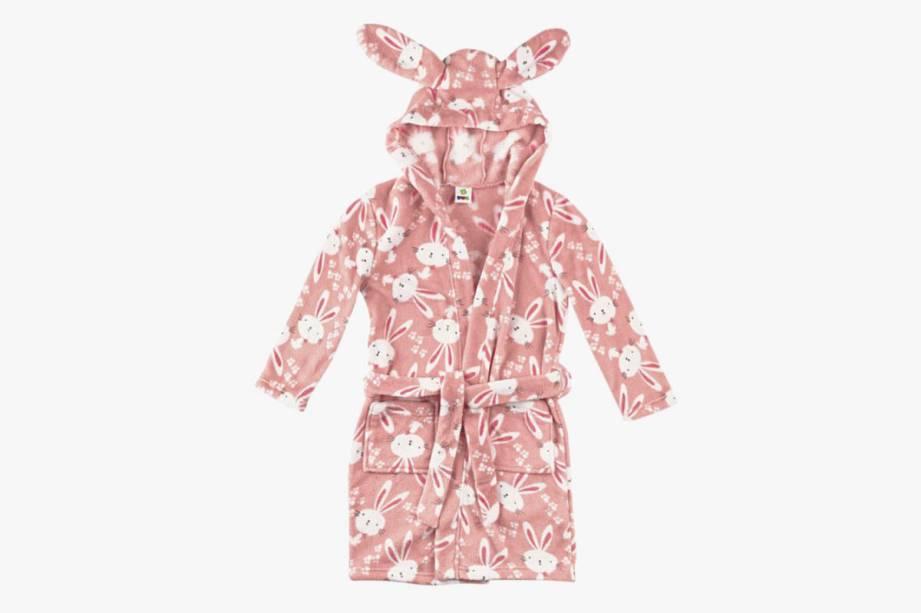 Roupão infantil de plush com orelhas de coelho no capuz: R$ 99,99