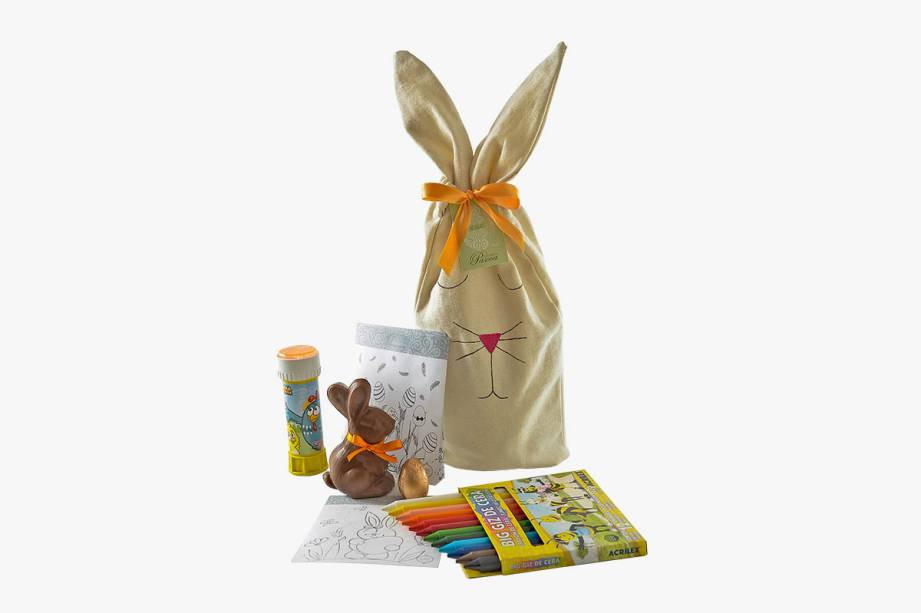 Sacola de pano com coelho de chocolate belga, bolinha de sabão e desenho temático para colorir com giz de cera: R$ 66,00