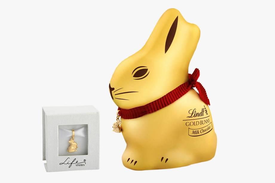 Pingente folheado a ouro da Life by Vivara mais chocolate em formato de coelho (100 gramas): R$ 179,90