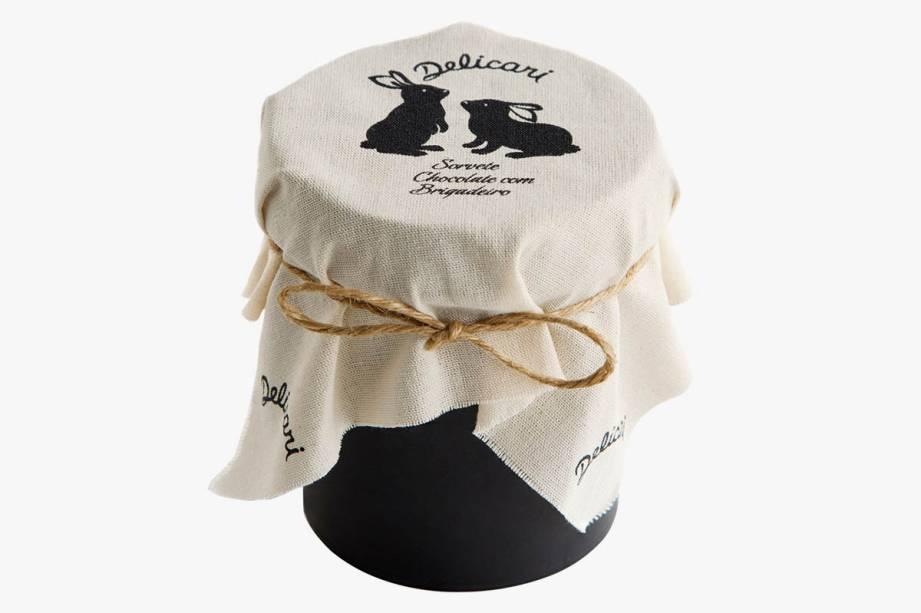 Sorvete de chocolate orgânico Amma entremeado a brigadeiro (500 mililitros): R$ 24,00