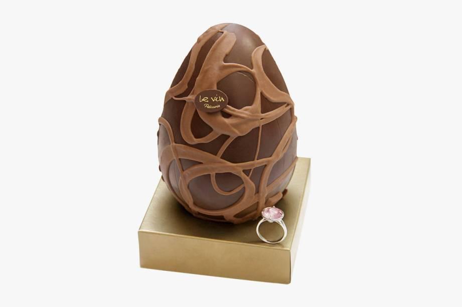 Chocolate ao leite belga (250 gramas) mais anel de prata da Francesca Romana Diana: R$ 168,00