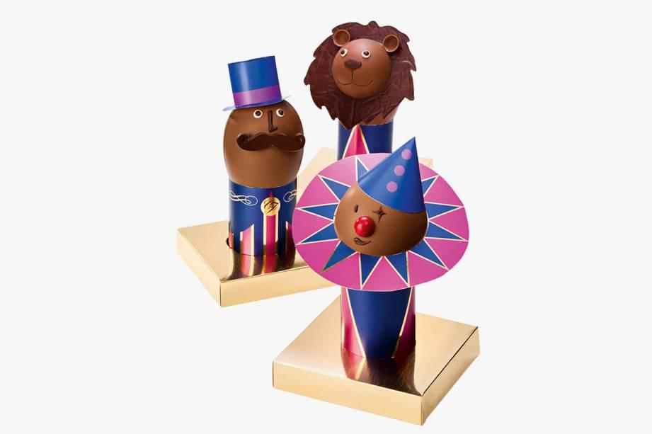 Chocolates de palhaço, apresentador de circo e leão: R$ 157,00, R$ 159,00 e R$ 198,00, respectivamente